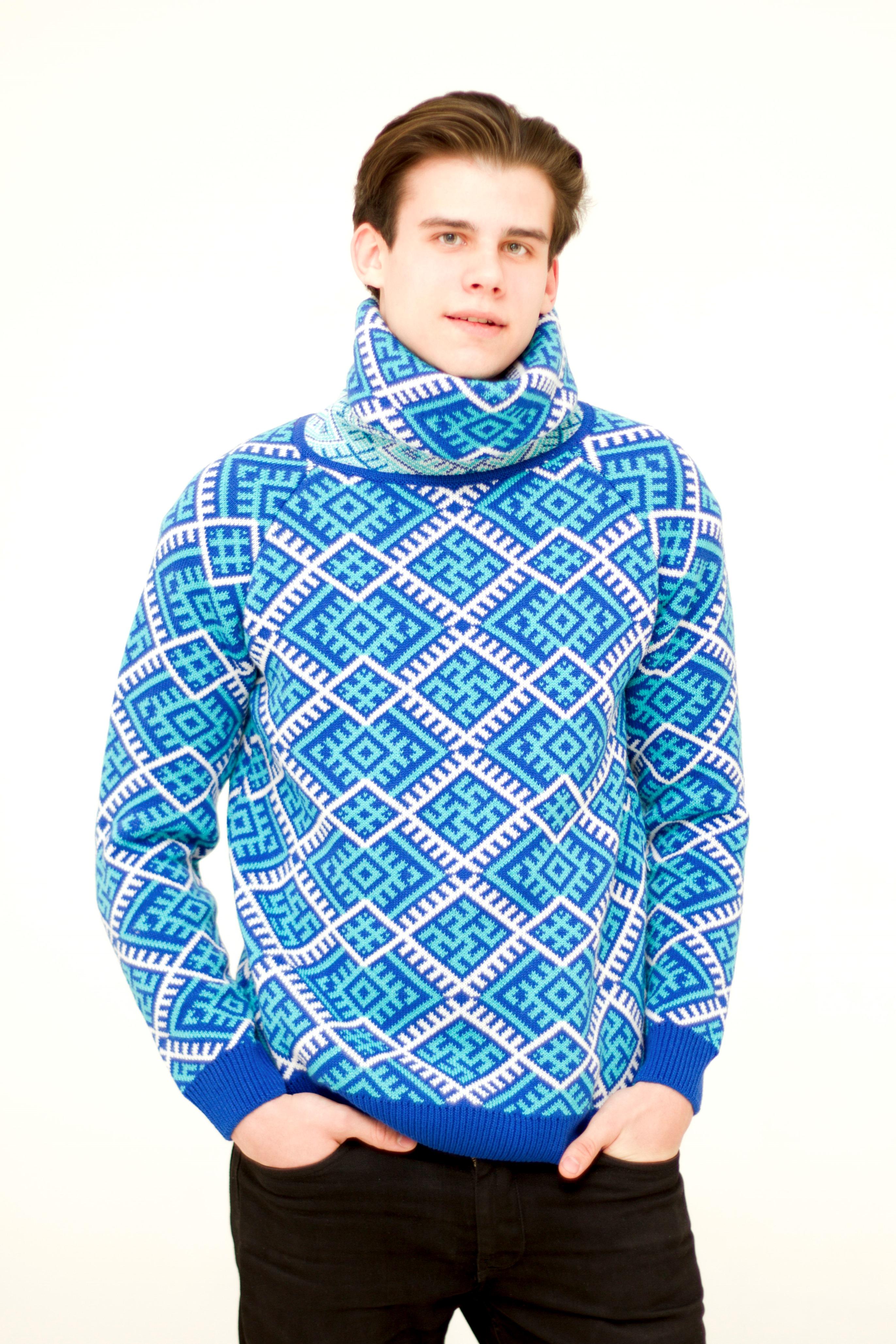 Blue sweater with collar | AGNI