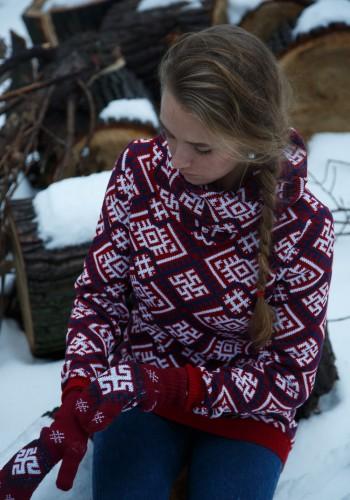 red runic sweater