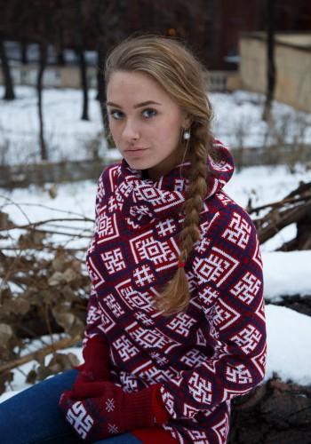 red slavic sweater
