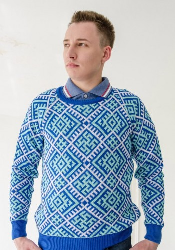 blue swastica jumper